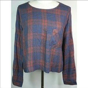 Cloth Stone Large Blouse Shirt Lace Up Split Back
